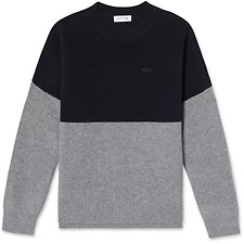 Image of Lacoste NAVY BLUE/STONE CHINE WOMEN'S COLOUR BLOCK WOOL KNIT