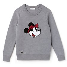 Image of Lacoste SILVER CHINE/SILVER CHINE WOMEN'S MINNIE MOUSE WOOL KNIT