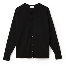Image of Lacoste BLACK WOMEN'S HIGH NECK COTTON CARDIGAN