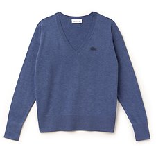 Image of Lacoste NEPTUNE WOMEN'S DEEP V COTTON SWEATER