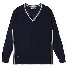 Image of Lacoste NAVY BLUE/VANILLA PLANT WOMEN'S V NECK SWEATER WITH CONTRAST TRIM