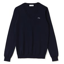 Image of Lacoste NAVY BLUE WOMEN'S V NECK COTTON SWEATER