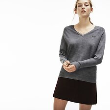 Image of Lacoste STONE WOMEN'S TONAL CROCODILE DEEP V WOOL KNIT