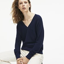 Image of Lacoste NAVY BLUE WOMEN'S MOSS STITCH V NECK COTTON KNIT