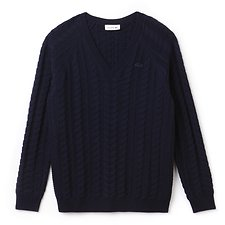 Image of Lacoste NAVY BLUE WOMEN'S V NECK CABLE WOOL KNIT