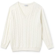 Image of Lacoste FLOUR WOMEN'S V NECK CABLE WOOL KNIT