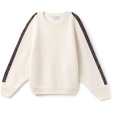 Image of Lacoste FLOUR/RENAISSANCE MOULINE WOMEN'S MADE IN FRANCE CONTRAST SLEEVE STRIPE KNIT