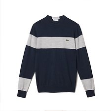 Image of Lacoste NAVY BLUE/PLUVIER CHINE-P MEN'S COLOUR BLOCK WOOL SWEATER