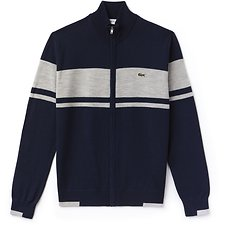 Image of Lacoste NAVY BLUE/PLUVIER CHINE MEN'S FULL ZIP COLOUR BLOCK WOOL KNIT