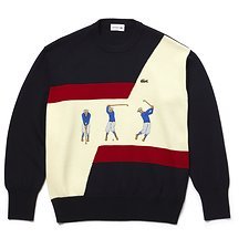 Image of Lacoste ABYSSAL BLUE/SOLANEE-ANTHORA MEN'S FASHION SHOW CREW NECK WOOL SWEATER