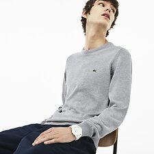 Image of Lacoste PLUVIER CHINE/FLOUR-SILVE MEN'S CREW NECK COTTON SWEATSHIRT