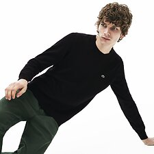 Image of Lacoste BLACK/FLOUR-BLACK MEN'S CREW NECK COTTON SWEATSHIRT