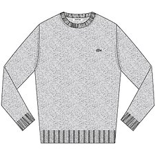 Image of Lacoste SILVER CHINE MEN'S CREW NECK PIQUE SWEATER