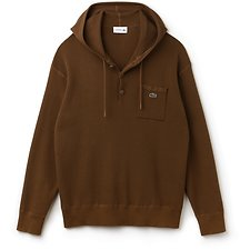 Image of Lacoste DARK RENAISSANCE BROWN MEN'S HOODED SWEATER