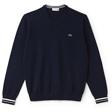 Image of Lacoste NAVY BLUE/FLOUR MEN'S CREW NECK SWEATER WITH CONTRAST SLEEVE