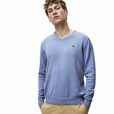 Image of Lacoste IPOMEE CHINE/FLOUR-IPOMEE MEN'S V NECK COTTON SWEATER
