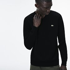 Image of Lacoste BLACK/FLOUR-BLACK MEN'S V NECK COTTON SWEATER
