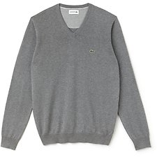 Image of Lacoste GALAXITE CHINE/FLOUR MEN'S V NECK COTTON SWEATER