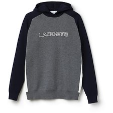 Image of Lacoste GALAXITE CHINE/NAVY BLUE-FLOUR MEN'S HOODED LOGO SWEATER