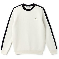 Image of Lacoste FLOUR/NAVY BLUE-RENAISSAN MEN'S MADE IN FRANCE RETRO CONTRAST STRIPE KNIT
