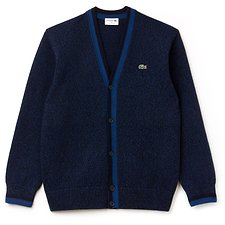 Image of Lacoste ENCRIER MOULINE/NAVY BLUE MEN'S MADE IN FRANCE WOOL CARDIGAN