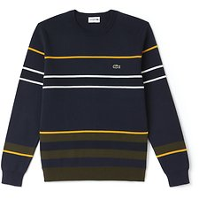 Image of Lacoste MERIDIAN BLUE/BAOBAB-POME MEN'S MULTI STRIPE CREW NECK KNIT