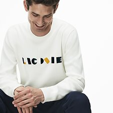 Image of Lacoste FLOUR/MULTICO MEN'S CREW NECK ALPHABET KNIT