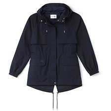 Image of Lacoste NAVY BLUE WOMEN'S COTTON HOODED WINDBREAKER