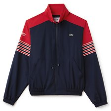 Image of Lacoste NAVY BLUE/FLASH RED-FLOUR UNISEX FASHION SHOW RETRO TRACK JACKET