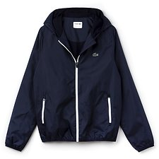 Image of Lacoste NAVY BLUE/WHITE MEN'S HOODED WINDBREAKER
