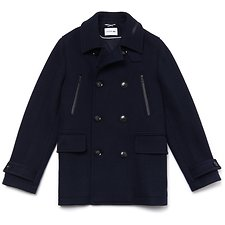 Image of Lacoste DARK NAVY BLUE MEN'S MID-LENGTH WOOL JERSEY COAT