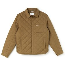 Image of Lacoste DARK KRAFT MEN'S TEXTURIZED COTTON QUILTED JACKET