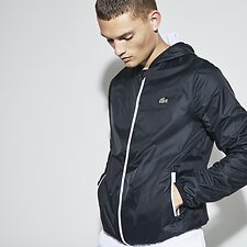 Image of Lacoste BLACK/WHITE MEN'S HOODED WINDBREAKER
