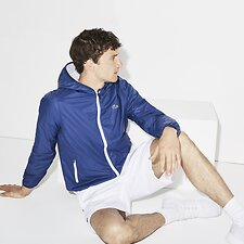Image of Lacoste INKWELL/WHITE MEN'S HOODED TENNIS WINDBREAKER