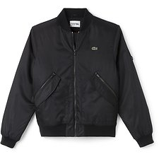 Image of Lacoste BLACK/LIGHTHOUSE RED MEN'S SPORTS TECHNICAL BOMBER JACKET