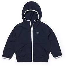 Image of Lacoste NAVY BLUE/WHITE KIDS' HOODED WINDBREAKER JACKET