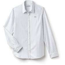 Image of Lacoste WHITE/MARINO WOMEN'S STRIPE POPLIN SHIRT