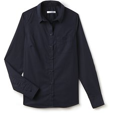 Image of Lacoste NAVY BLUE BASIC LONG SLEEVE SLIM FIT SHIRT WITH POCKET