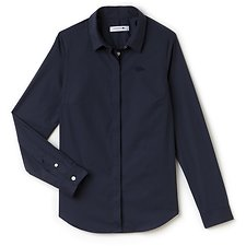 Image of Lacoste NAVY BLUE WOMEN'S SLIM STRETCH SOLID POPLIN SHIRT