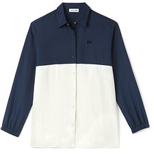 Image of Lacoste AZURITE/FLOUR WOMEN'S REGULAR FIT COLOUR BLOCK SHIRT