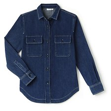 Image of Lacoste MEDIUM BLUE WOMEN'S REGULAR FIT DENIM SHIRT