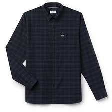 Image of Lacoste SINOPLE/MERIDIAN BLUE MEN'S TWILL CHECK SHIRT