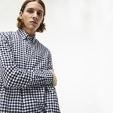 b99dd030a0d44b Image of Lacoste NAVY BLUE WHITE MEN S GINGHAM SHIRT