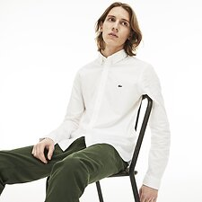 Image of Lacoste WHITE MEN'S SLIM STRETCH OXFORD SHIRT