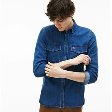 Image of Lacoste DEEP MEDIUM MEN'S REGULAR FIT DENIM SHIRT