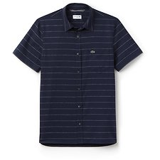 Image of Lacoste NAVY BLUE MEN'S SLIM SHORT SLEEVE HORIZONTAL STRIPE SHIRT