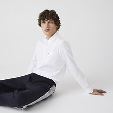Image of Lacoste WHITE MEN'S OXFORD SHIRT