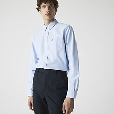 Image of Lacoste HEMISPHERE BLUE MEN'S OXFORD SHIRT