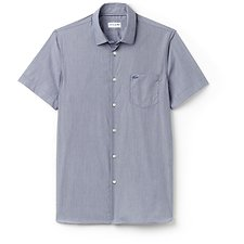 Image of Lacoste MARINO/WHITE MEN'S SHORT SLEEVE SLIM FIT STRIPE SHIRT