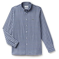 Image of Lacoste NAVY BLUE MEN'S SLIM STRETCH OXFORD CHECK SHIRT